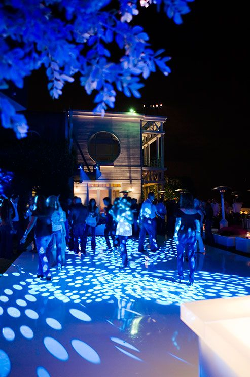 Light up the night with gobos and blue lights for an exciting after-hours dance party.