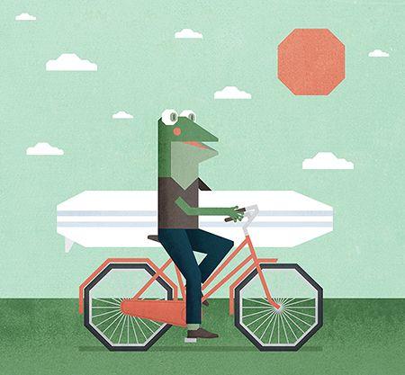 bicycle froggie by JAN SRAMEK, illustrator represented by OWL Illustration agency www.owlillustration.com