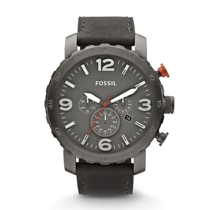 Nate Chronograph Leather Watch - Grey JR1419 | FOSSIL®
