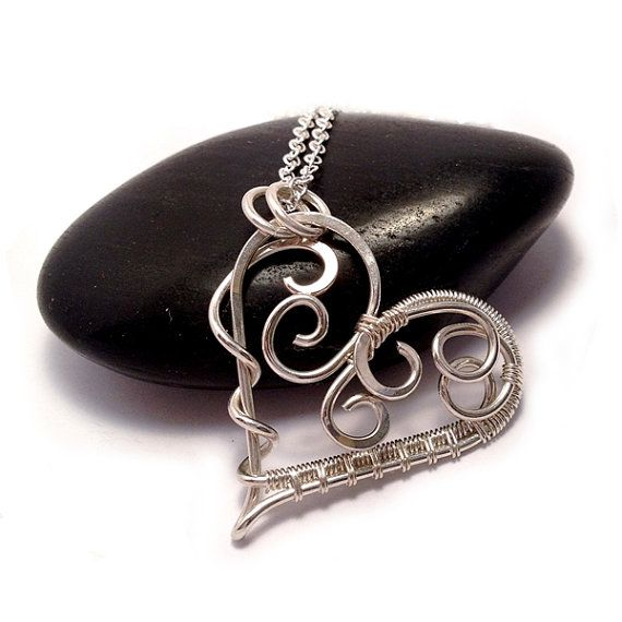 Silver Scroll Heart Necklace | Sterling Silver Wire Wrapped Heart Pendant | Heart Jewelry | Gifts for Her | Silver Jewellery UK