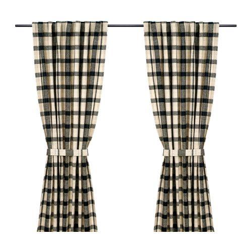 КОРАЛЛРОТ Гардины, 1 пара IKEA Гардины можно вешать, пропустив карниз через потайные петли, или с помощью колец и крючков.