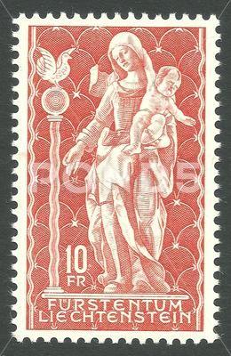 Liechtenstein - stamp 1965, Saints, Madonna of Schellenberg - Стоковая иллюстрация | by Kapitalist63