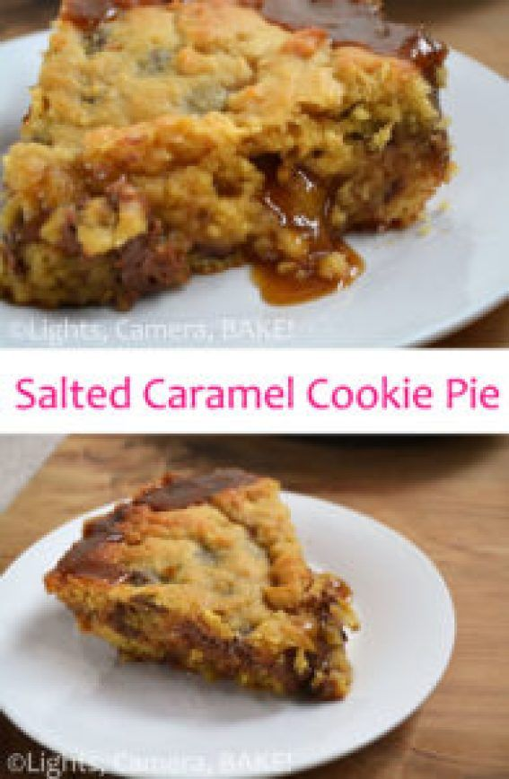 Salted Caramel Cookie Pie. Soft, gooey, chocolate chip cookie, filled with melting salted caramel..... Itls like heaven on a plate. Click the photo for the #recipe . #cookiepie #saltedcaramel
