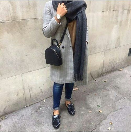 checked coat-Hijab street style looks – Just Trendy Girls