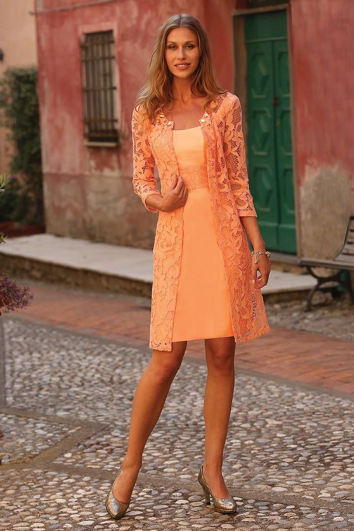 Wishesbridal Formal Strapless Knee Length Orange #Lace Sheath Column #MotherOfTheBrideDress With Jacket B2lr0028