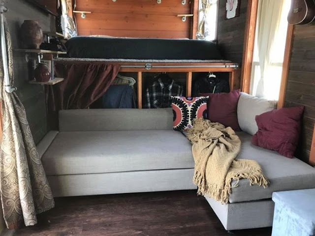 This Is The Whittle Wagon A Tiny House For Sale In Fort Worth Texas Sits On 24 Ft Gooseneck Trailer That Allows Split Level Loft