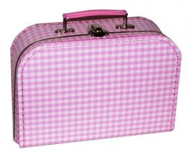 Kinderkoffertje roze / witte ruit | Kinderkoffertjes | Kadootjes voor baby, peuter, kleuter