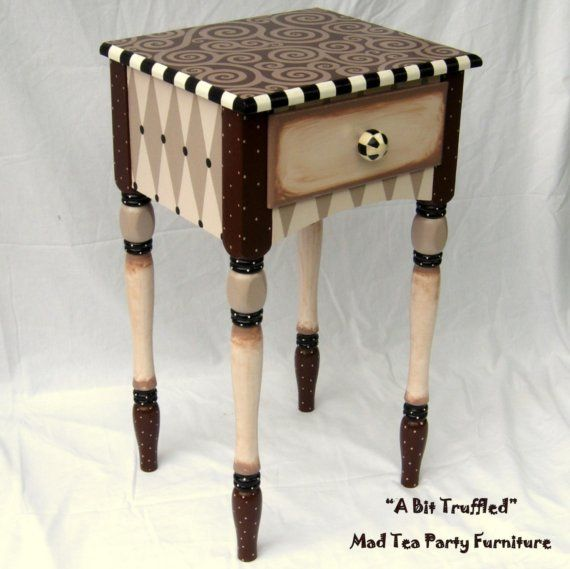 Hand Painted End Table A bit truffled by madteapartyfurniture