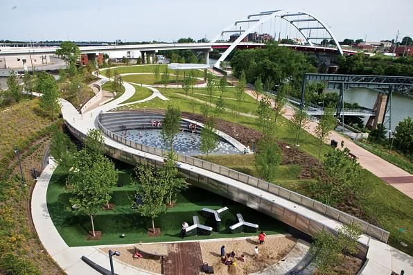Cumberland Park, Nashville by Hargreaves Associates. Click image for link to full profile and visit the slowottawa.ca boards >> https://www.pinterest.com/slowottawa/