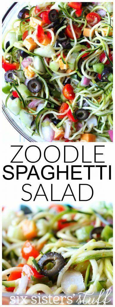 Zoodle Spaghetti Salad | Six Sisters' Stuff