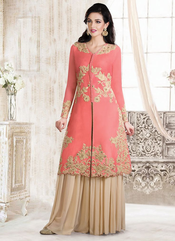 Pink Cotton Silk Sharara Suit