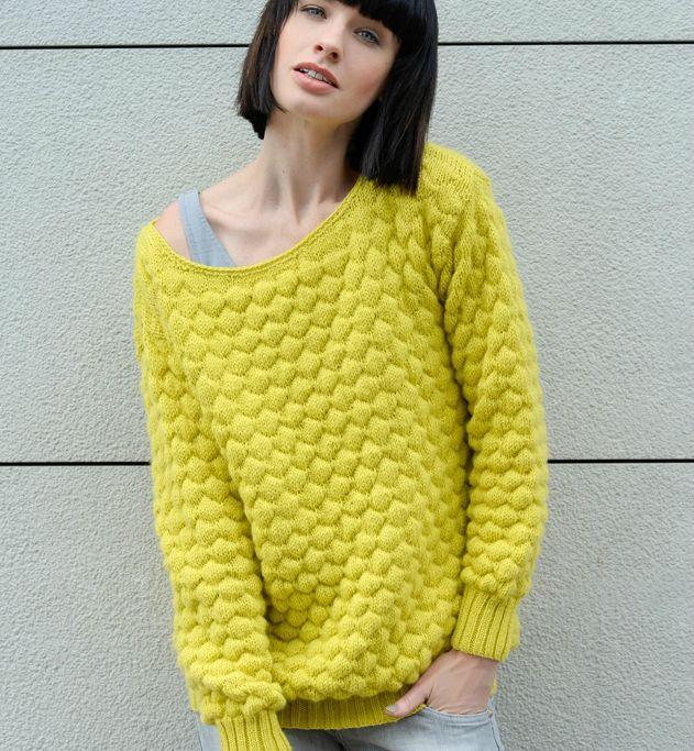 Ce pull au point gaufré, dans un coloris étonnant, va ravir de nombreuses de mes lectrices! Il est tricoté en fil PHILDAR Partner...