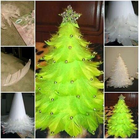 Árbolitos de Navidad Centro de Mesa Hecha con plumas