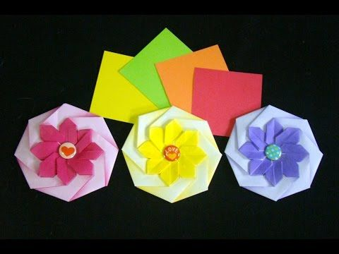 Origami Maniacs 212: Octagonal Flower Coaster - YouTube