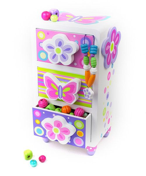 Stylish sweeties will cherish this chest that boasts fully-lined drawers perfect for storing jewelry or kid-couture accessories made from this kit. Featuring a rainbow of wood beads and charms, there are enough bits and bobs to make at least three custom creations.Includes chest, carrying case, wood beads, charms and string5'' W x 10'' H x 4'' D