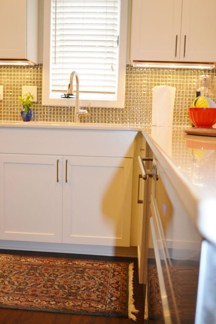 Dublin, Ohio kitchen remodel with Kraftmaid Lyndale Maple Canvas Cabinets and Cuddington Cambria Quartz Countertops designed by Kristi Youles of The Jae Company.