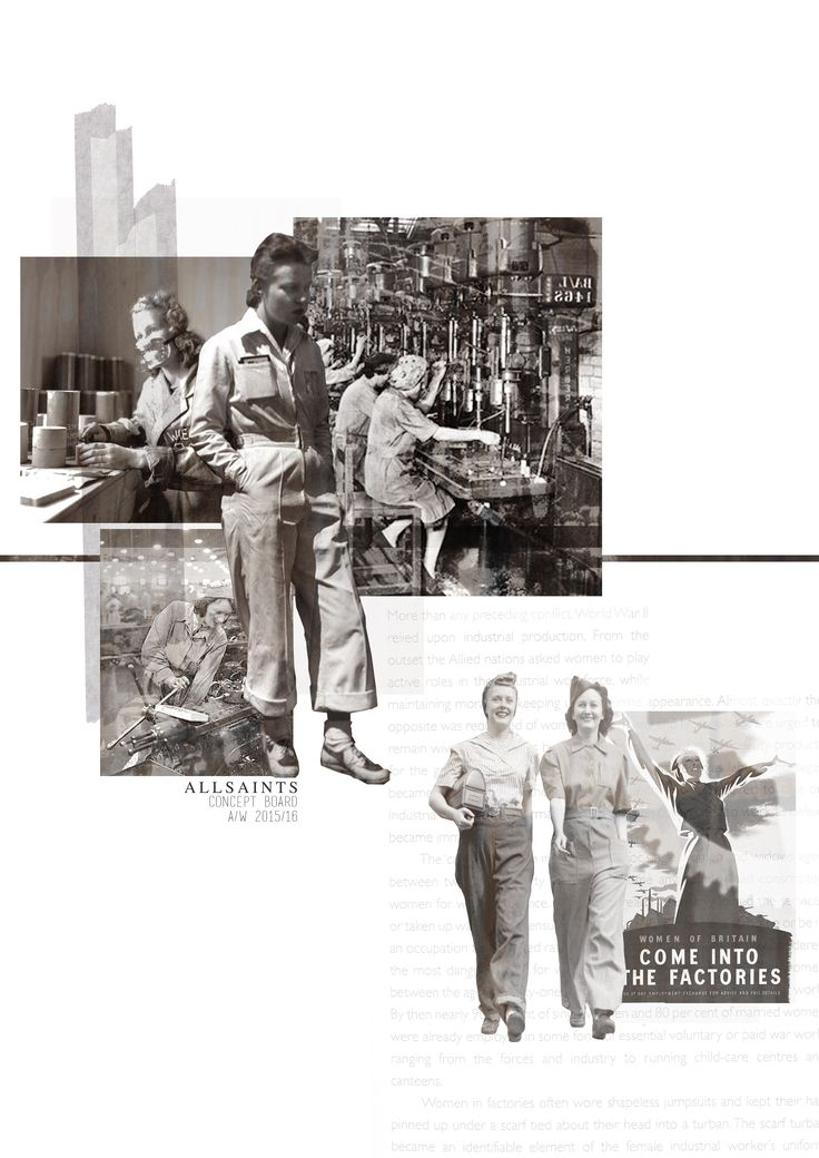 Concept Board // AllSaints fashion, fashion design, fashion portfolio, sketchbook, layout, post-war, workwear, mid 40s, factory workers, working women