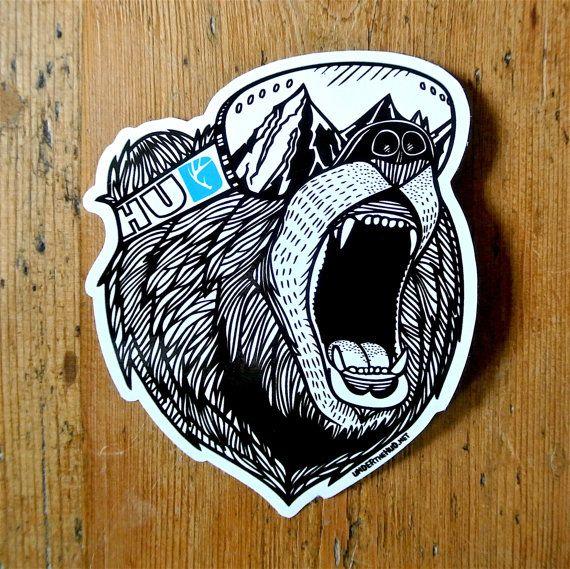Bear Vinyl Sticker Snowboard Sticker Adventure by UnderTheHUD