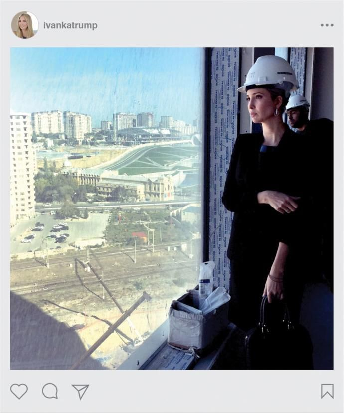 Hmmm. What the Trump family won't do to line their pockets with money.  A 2014 Instagram post of Ivanka Trump at the Baku tower.