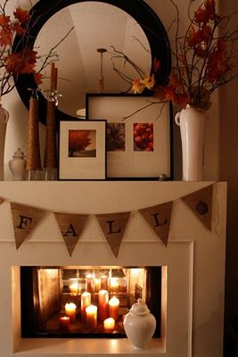 Adorable fireplace bunting + candles = great fall fireplace decor idea
