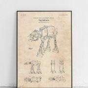 AT-AT (All Terrain Armored Transporter), Uniwersalny Lądowy Transporter Opancerzony. Reprodukcja patentu nr USD 266777 S zgłoszonego do Urzędu Patentów i Znaków Towarowych Stanów Zjednoczonych. Data publikacji to listopad 1982. Wynalazcy patentu to George W. Lucas Jr. i Joseph E. Johnston.