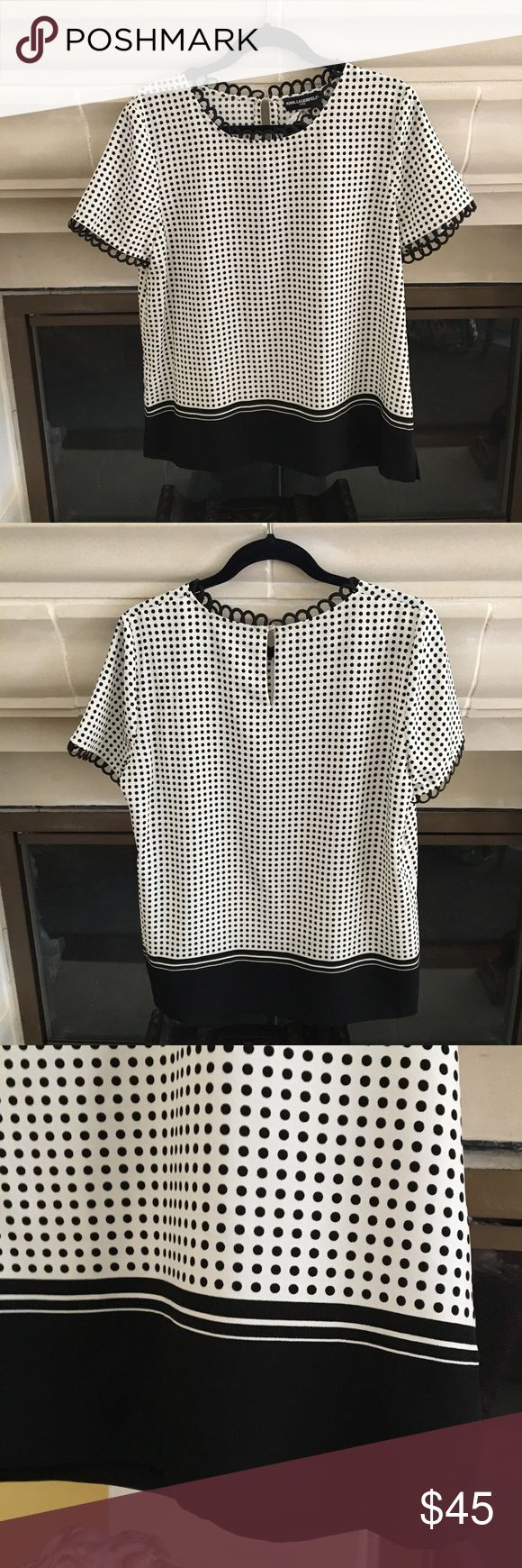 NWT Karl Lagerfeld Polka Dot Short Sleeve Blouse NWT Karl Lagerfeld short sleeve polka dot blouse with scalloped details on sleeves on neckline. Perfect condition. Bundle and save! 🛍 Karl Lagerfeld Tops Blouses
