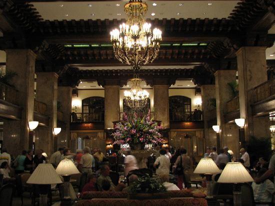 The lobby of the Peabody Hotel