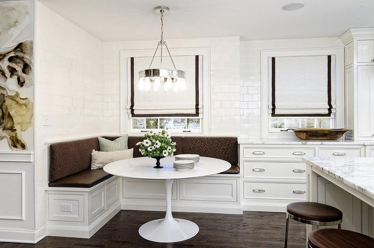 White And Brown Dining Nook Is Filled With An L Shaped