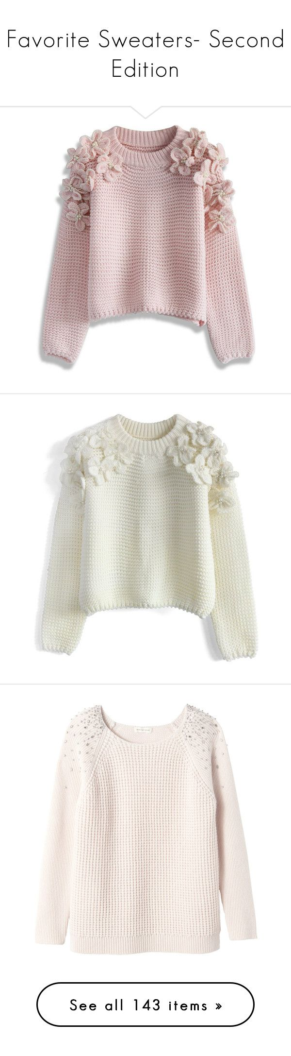 """Favorite Sweaters- Second Edition"" by happilyjynxed ❤ liked on Polyvore featuring tops, sweaters, pink, pink sweater, waffle knit sweater, embellished sweater, flower sweater, pink top, jumpers and shirts"