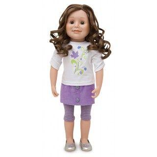 Maplelea Friend with long curly brown hair, light skin, brown eyes