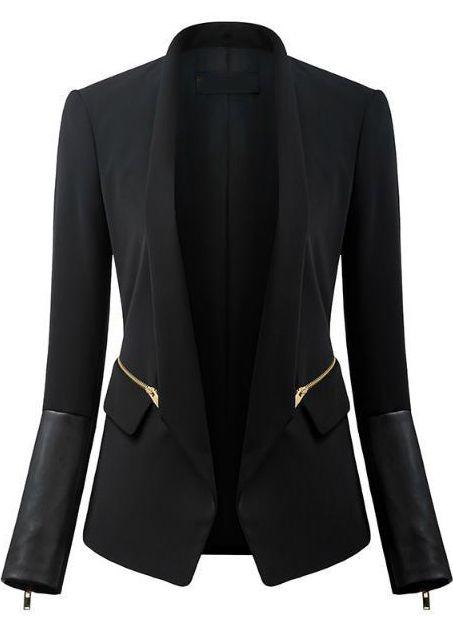 Black Long Sleeve Zipper Pockets Blazer $29.99