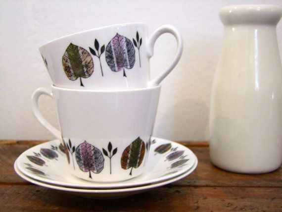 Mid Century Royal Vale Cup and Saucer Set for Two w Leaf Detail - Ridgeway Potteries, Fine Bone China