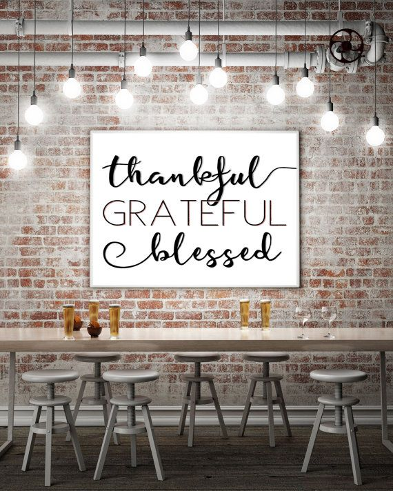 Instant Download Art Print - thankful grateful blessed in black and white with a shimmering persimmon highlight is the perfect printable digital quote for the Thanksgiving holidays or any day. Looks great framed.  Easy and quick to print // Pretty design // DIY // Budget friendly // 8x10 5x7 & 4x6 sizes // High quality image  ----------------------------------------------------------------------------------  WHAT YOU GET:  -This purchase is for an INSTANT DOWNLOAD art print -Comes in 3…