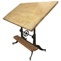1890s Cast Iron Victorian Adjustable Tilting Drafting Table with Oak Footrest