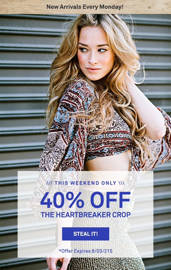 40% off the Heart Break Top at Raga. Offer expires 09/03/2015