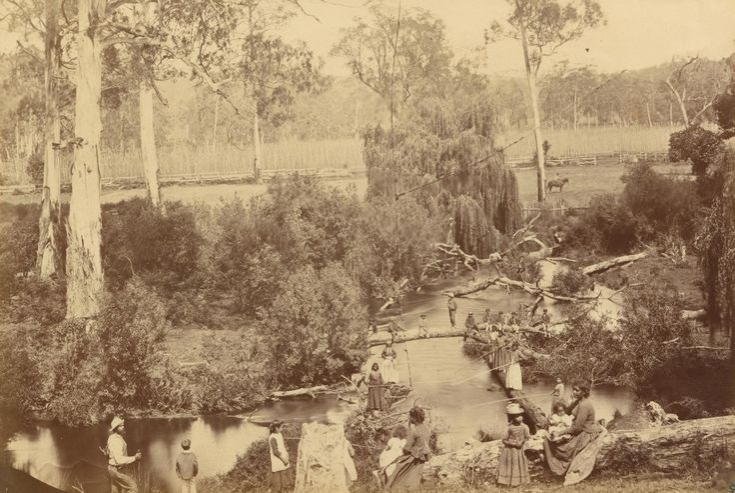 Badger Creek, Coranderrk Aboriginal Station, fishing scene   Fred KRUGER   NGV