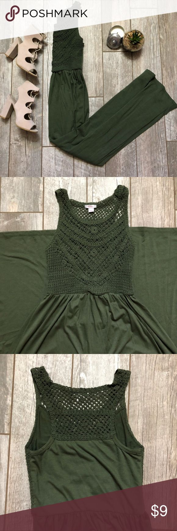 """Olive Green Crochet Top High Neck Maxi Stretchy fabric and waist. Super soft! Worn once or twice. Very gently used. Length works on a 5' 1"""" frame with flats - perfect for someone petite! Dresses Maxi"""