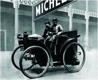 "1895: First ever car to run on air!! The year of ""Éclair"" the: The first ever Pneumatic Tyres by Michelin."