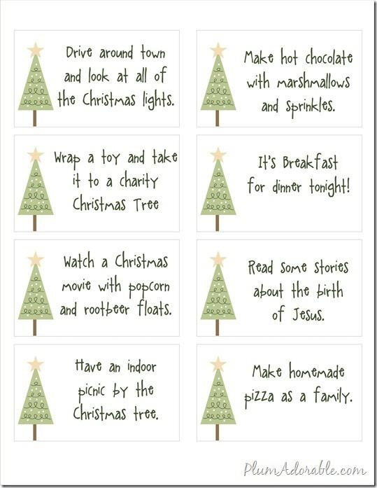 Free Printables - 24 Advent Calendar Ideas to do with your family.