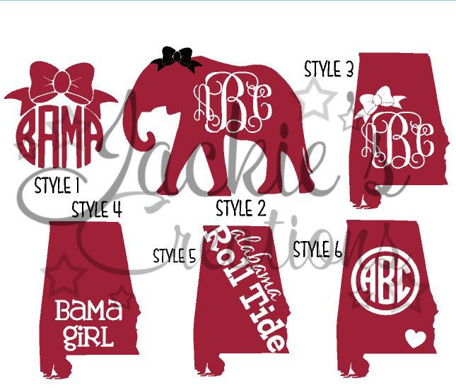 Alabama Decals/ AL Monogram Decals/Elephant Monogram Decals by JackiesCreations2013 on Etsy https://www.etsy.com/listing/207524267/alabama-decals-al-monogram
