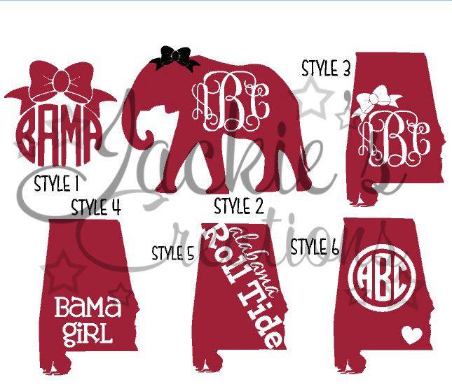 Alabama Decals/ AL Monogram Decals/Elephant Monogram Decals by JackiesCreations2013 on Etsy https://www.etsy.com/listing/207524267/alabama-decals-al-monogram