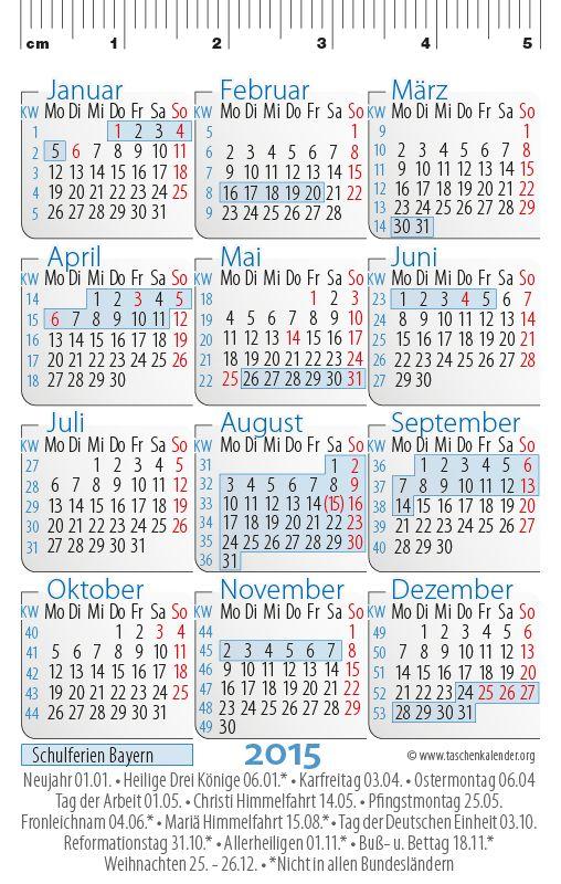 Taschenkalenderkarten im Scheckkartenformat 2015 mit Feiertagen und Schulferien in Bayern