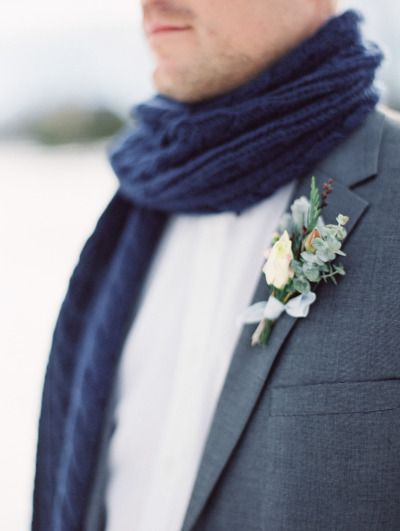 Winter wedding boutonniere: http://www.stylemepretty.com/canada-weddings/2014/04/24/cable-knit-inspired-wedding-shoot/ | Photography: Christie Graham - http://www.christiegrahamphotography.com/