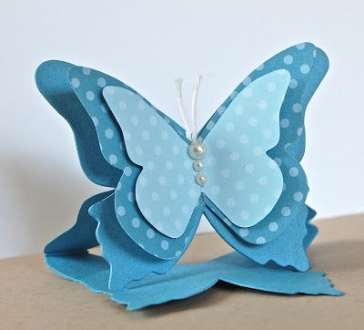 Stampin' Up ideas and supplies from Vicky at Crafting Clare's Paper Moments: No stamping butterfly shaped card