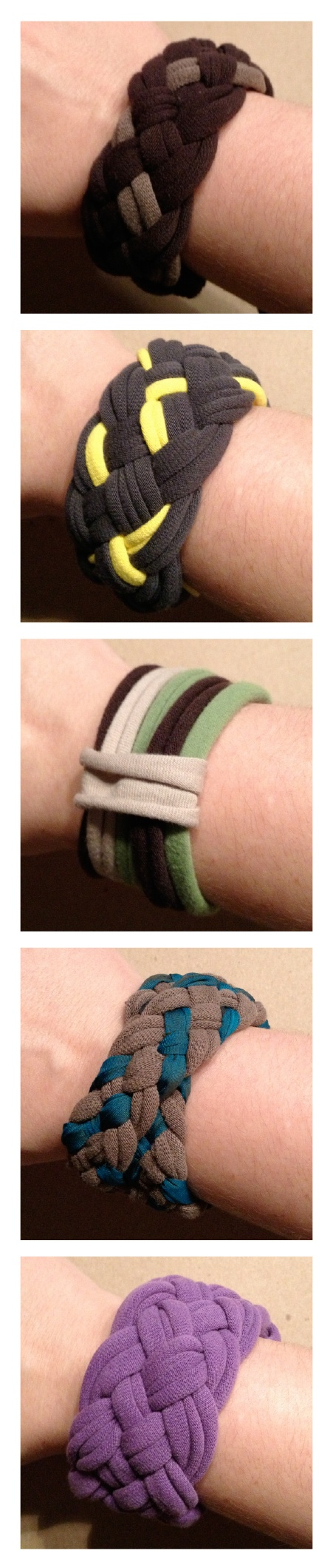 so many options for braided t-shirt cuffs/bracelets