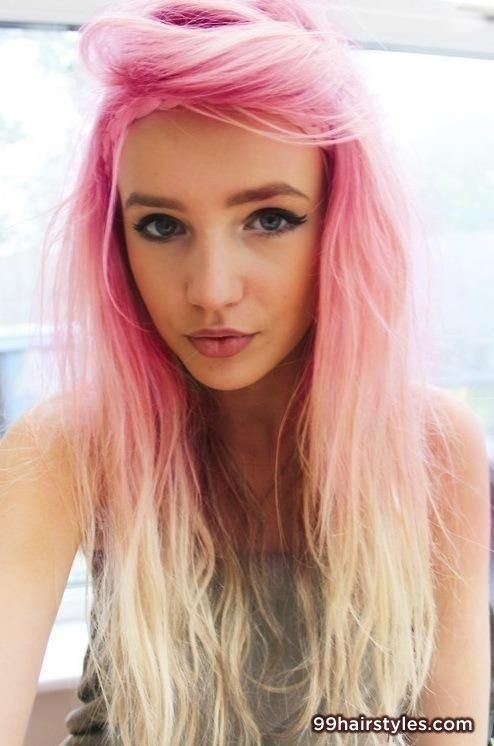 cool blonde pink hairstyle