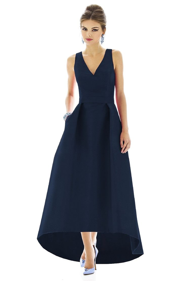 Alfred Sung D587 Bridesmaid Dress in Navy blue