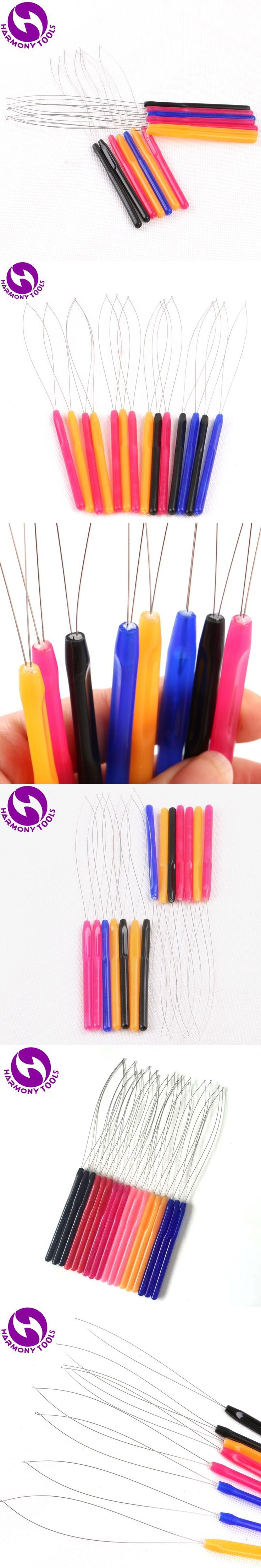 HARMONY 10 pieces mix colors plastic handle loop threader tools used with plier and micro beads for micro rings hair extensions