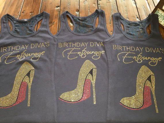 8 gold rhinestone birthday Diva's Entourage by BirthdaySquad