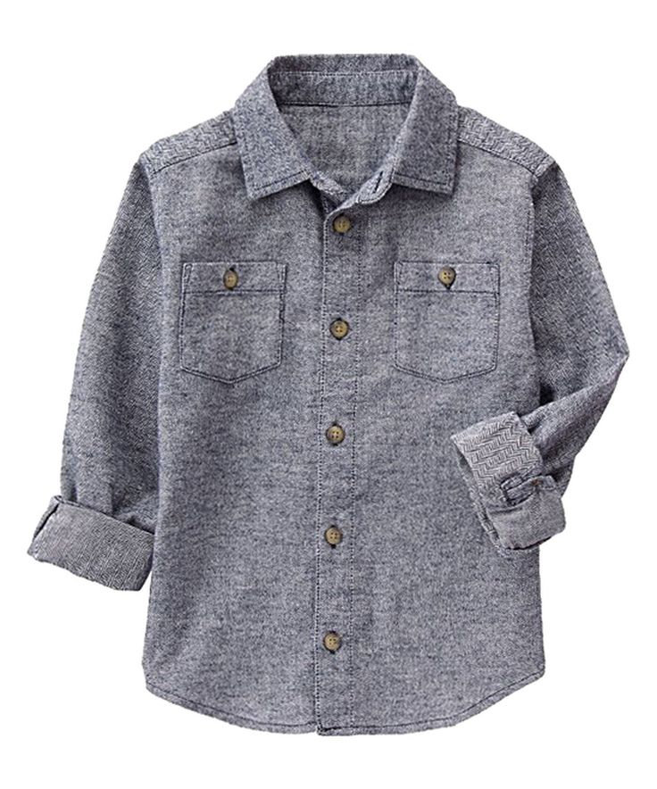This Gymboree Jet & Ivory Herringbone Flannel Button-Up - Boys by Gymboree is perfect! #zulilyfinds